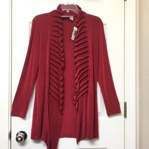 Chico's Travelers | Open Front Ruffled Cardigan 0